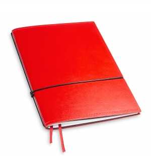 A5 1er Notizbuch Leder glatt rot