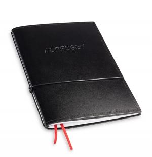 A5 1er Adressbuch Leder glatt schwarz