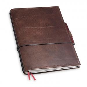 A5 2er Notizbuch Leder natur kastanie in der BOX