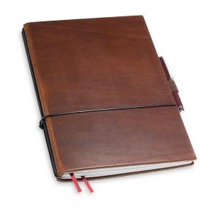 A5 2er Notizbuch Leder natur marone in der BOX