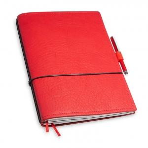 A5 2er Notizbuch Leder natur rot in der BOX