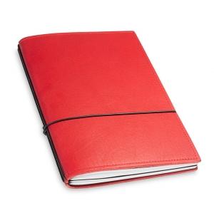 A5 2er Notizbuch Leder natur rot, Notizenmix
