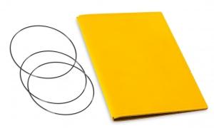 A5 Hülle 2er Leder glatt gelb inkl. ElastiXs