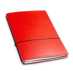A5 2er Notizbuch Leder glatt rot, Notizenmix