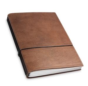 A5 3er Notizbuch Leder natur kastanie, Notizenmix