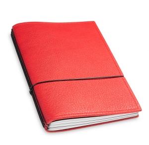 A5 3er Notizbuch Leder natur rot, Notizenmix