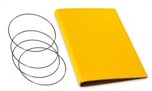 A5 Hülle 3er Leder glatt gelb inkl. ElastiXs
