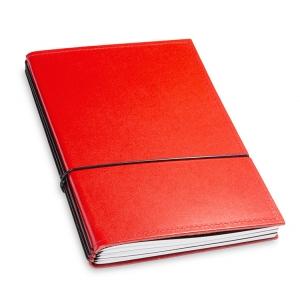A5 3er Notizbuch Leder glatt rot, Notizenmix