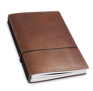 A5 4er Notizbuch Leder natur kastanie, Notizenmix