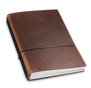 A5 4er Notizbuch Leder natur marone, Notizenmix