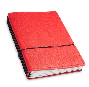 A5 4er Notizbuch Leder natur rot, Notizenmix
