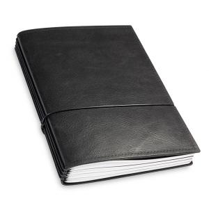 A5 4er Notizbuch Leder natur schwarz, Notizenmix