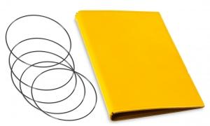 A5 Hülle 4er Leder glatt gelb inkl. ElastiXs