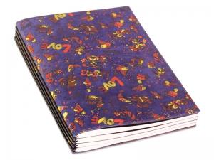 A5 4er Notizbuch Veloursleder blau mit Aufdruck