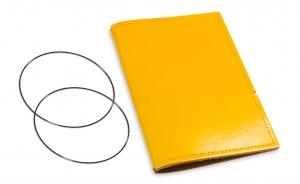 A6 Hülle 1er Leder glatt gelb inkl. ElastiXs