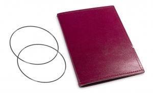 A6 Hülle 1er Leder glatt violett inkl. ElastiXs