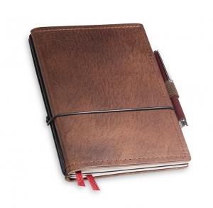 A6 2er Notizbuch Leder natur kastanie in der BOX