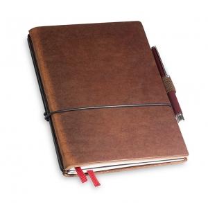 A6 2er Notizbuch Leder marone in der BOX