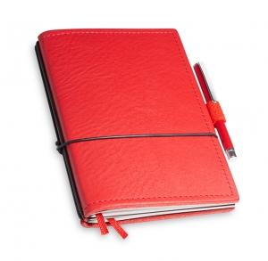 A6 2er Notizbuch Leder natur rot in der BOX