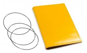 A6 Hülle 2er Leder glatt gelb inkl. ElastiXs