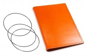 A6 Hülle 2er Leder glatt orange inkl. ElastiXs