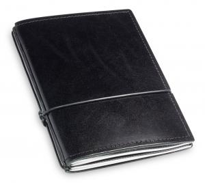 A6 2er Leder glatt schwarz mit Notizenmix und Doppeltasche
