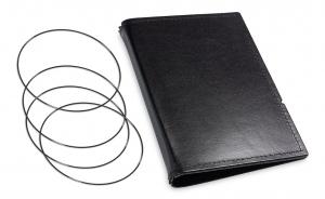 A6 Hülle 3er Leder glatt schwarz inkl. ElastiXs