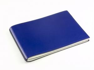 A5+ Quer 2er Leder glatt blau mit Notizenmix