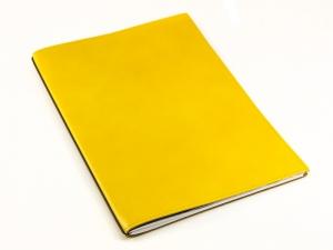 A4+ 1er Leder glatt gelb mit 1 x Notizen und Doppeltasche