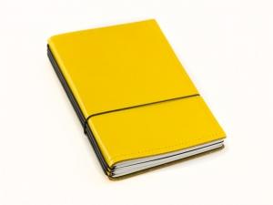 A6 3er Leder glatt gelb mit Notizenmix