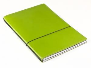 A5 2er Notizbuch Leder glatt grün, Notizenmix