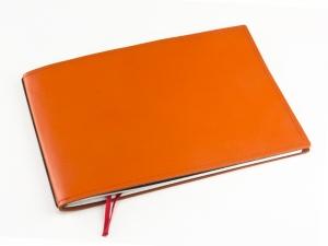 A5+ Quer 1er Leder glatt orange