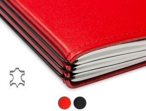 A5+ Quer Notizbuch Leder Glatt (1 bis 3 Hefte)