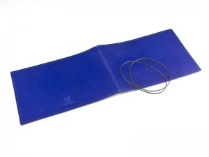 A5+ Quer Hülle 2er Leder glatt blau inkl. ElastiXs