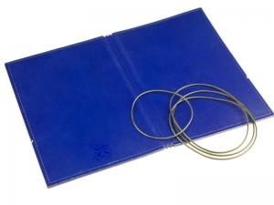 A6 Hülle 3er Leder glatt blau inkl. ElastiXs