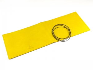 A5+ Quer Hülle 3er Leder glatt gelb inkl. ElastiXs