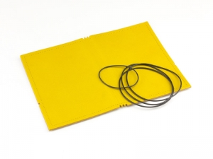 A6 Hülle 3er Leder glatt gelb inkl. ElastiXs