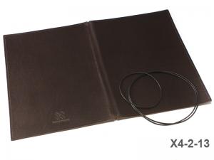 A4+ Lederhülle  für 2 Einlagen, fest dunkelbraun (X4-2-13)