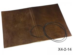 A4+ Lederhülle  für 2 Einlagen, naturgenarbt glanzend braun (X4-2-14)