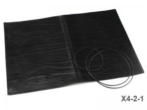 A4+ Lederhülle  für 2 Einlagen, schwarz glänzend (X4-2-1)