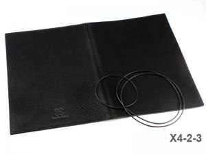 A4+ Lederhülle  für 2 Einlagen, schwarz matt fest (X4-2-3)