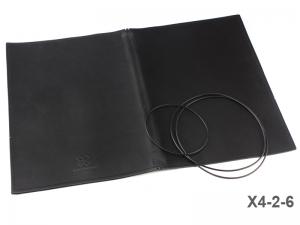 A4+ Lederhülle  für 2 Einlagen, glatt matt schwarz (X4-2-6)