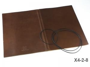 A4+ Lederhülle  für 2 Einlagen, glatt mokka (X4-2-8)
