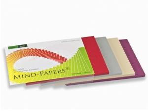DIN A6 Mind-Papers Nachfüllpack, 100 Karteikarten sortiert, Farbe: beere, sandbeige, schiefer, rot