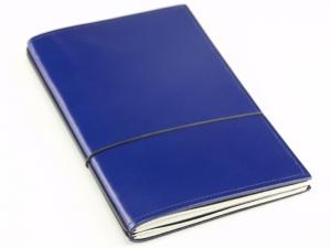 A5 2er Notizbuch Leder glatt blau, Notizenmix