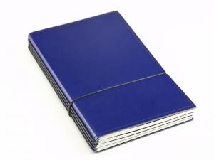 A5 4er Notizbuch Leder glatt blau, Notizenmix