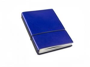 A6 3er Leder glatt blau mit Notizenmix