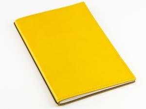 A5 1er Notizbuch Leder glatt gelb