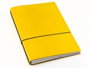 A5 2er Notizbuch Leder glatt gelb, Notizenmix