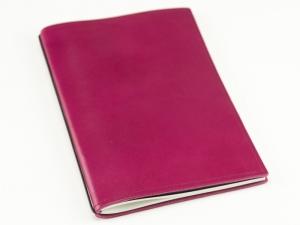 A5 1er Notizbuch Leder glatt magenta